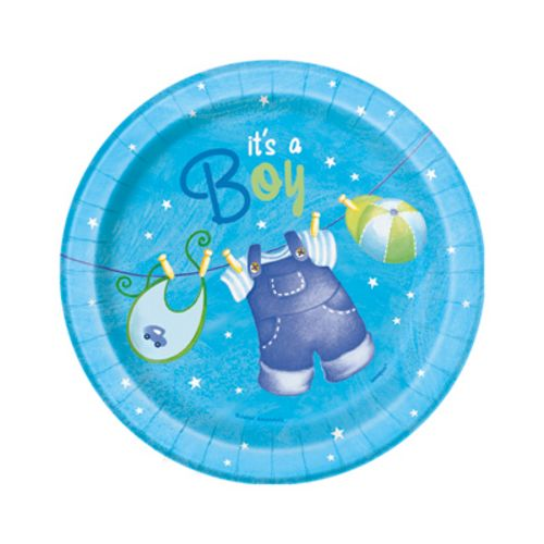 "Blue Clothesline 7"" Plates - Uptown Parties & Balloons"