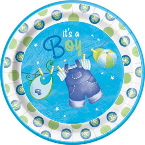 "Blue Clothesline 9"" Plates - Uptown Parties & Balloons"