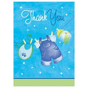 Blue Clothesline Thank You Notes - Uptown Parties & Balloons
