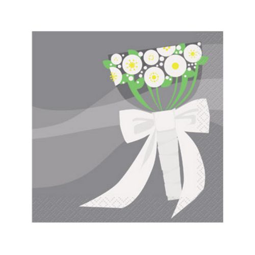Silver Wedding Beverage Napkins