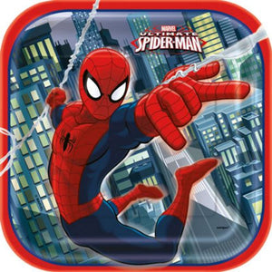 "Spiderman 9"" Plates - Uptown Parties & Balloons"