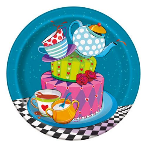 "Mad Hatter 7"" Plates - Uptown Parties & Balloons"