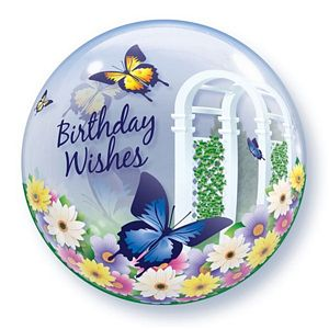 Birthday Wishes Garden Butterflies Bubble - Uptown Parties & Balloons