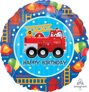 Fire Truck Happy Birthday - Uptown Parties & Balloons