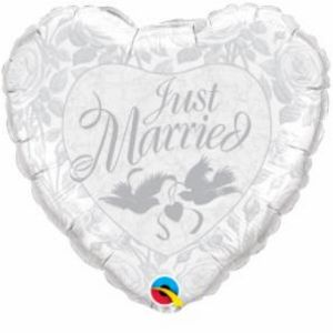 Just Married Heart SuperShape - Uptown Parties & Balloons