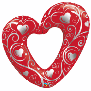 Hearts & Filigree Red SuperShape - Uptown Parties & Balloons