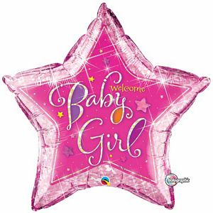 Welcome Baby Girl Stars SuperShape - Uptown Parties & Balloons