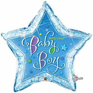 Welcome Baby Boy Stars SuperShape - Uptown Parties & Balloons