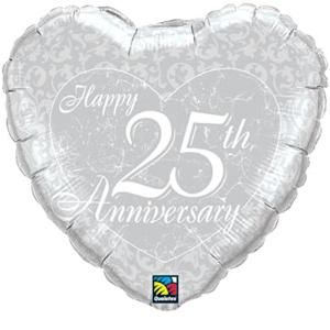 25th Anniversary Silver Heart - Uptown Parties & Balloons