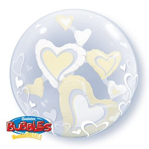White & Ivory Floating Hearts Double Bubble - Uptown Parties & Balloons