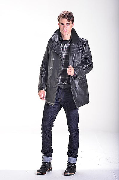 schott nyc  pea coat in cowhides naked leather made in usa