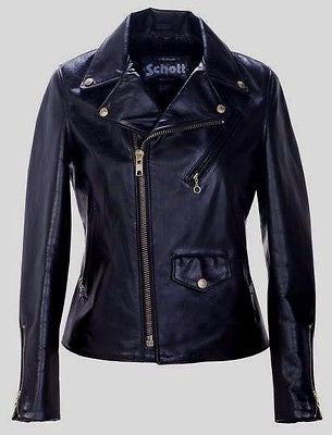 Schott Classic NEW/TAGS Boyfriends Leather Women's Motorcycle Jacket Black 636 W