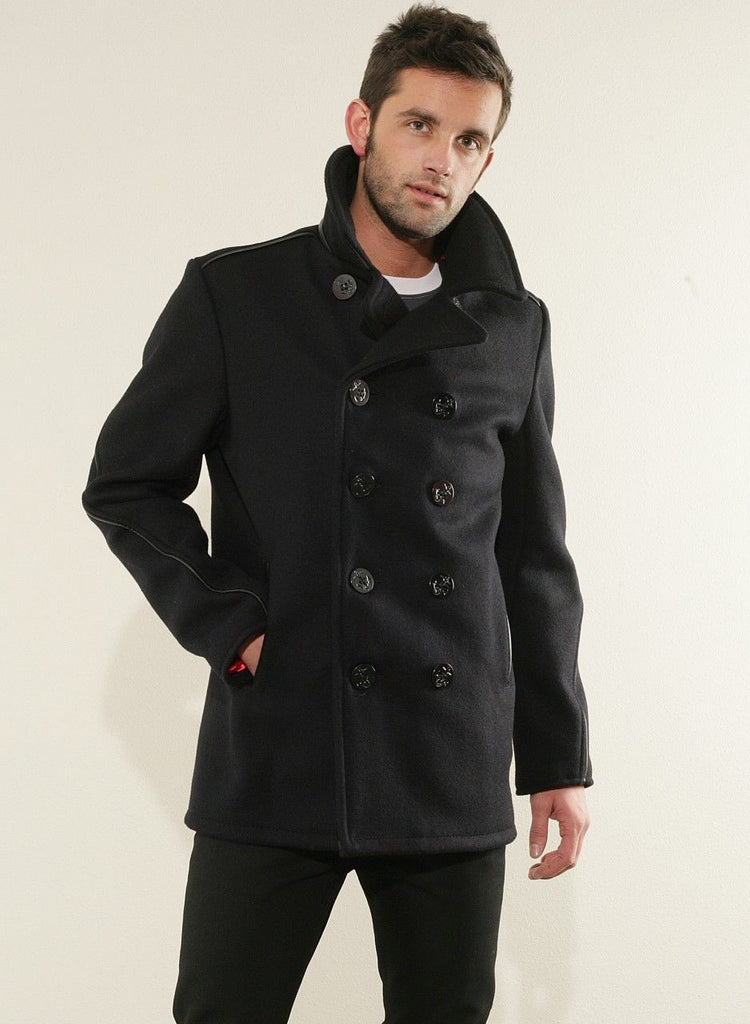 newest style of harmonious colors hot-selling authentic Schott-NYC Classic Pea-COAT Wool blend SUPERB Lining new with tags