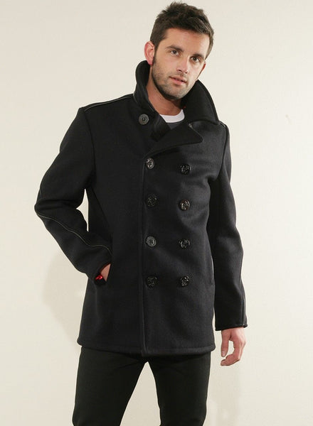 Schott-NYC Classic Pea-COAT Wool blend SUPERB Lining new with tags