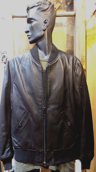 SCHOTT NYC  MA-1 STYLE 224 MILITARY SPEC Jacket NWT BLACK MADE IN USA Size MED