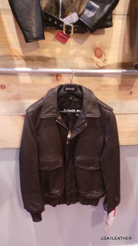 ea526797b Schott NYC Flight Leather Bomber Jacket NAKED NWT 184 SM Made in USA Brown A