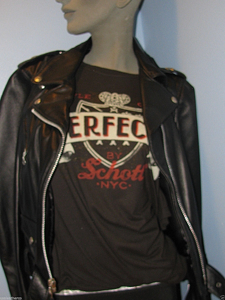 Schott  NYC  WOMEN GEOMETRIC PERFECTO LEATHER JACKET MADE IN USA
