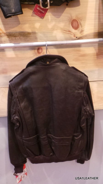 Schott NYC Flight Leather Bomber Jacket NAKED NWT 184 SM Made in USA Brown A
