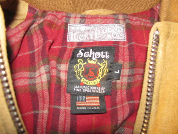 "Schott NYC ""MA-1"" Rough Out Suede LUCKY Brand Made In USA  Jacket NEW WTAG Rare"