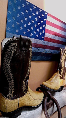 Olathe NIB  NEWestern Boots OSTRICH COWBOY RARE  8.5 D MADE IN USA  Handcrafte