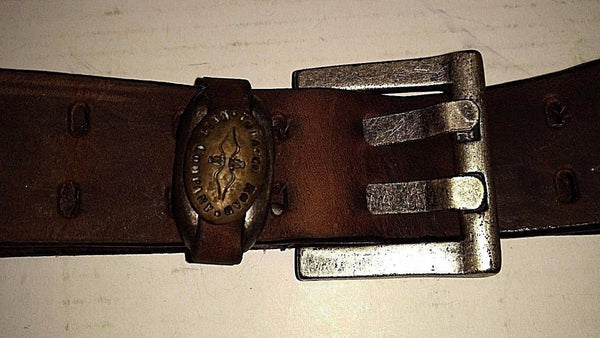 Rare leather USA made  belt  in vintaged leathers double prong new size 36 or 38