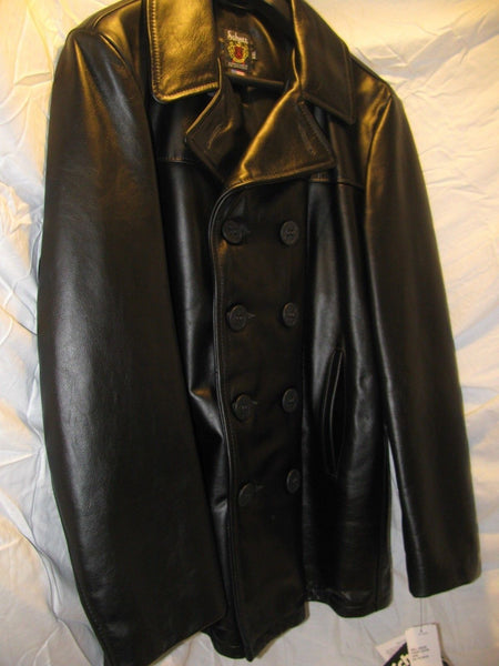 Schott NYC Leather MIDWEIGHT STUNNING Pea coat black size xlarge NEW With TAGS
