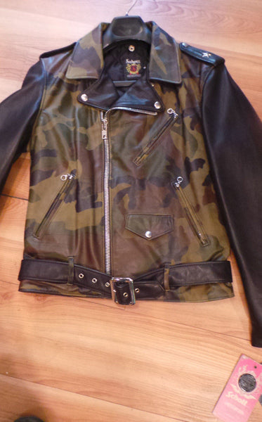 Schott NYC Black Camo Leather Motorcycle MC jacket  Made in USA #611 USA  SOLD