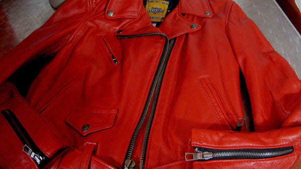 Schott NYC MADE IN USA Perfecto Lambskin Women Leather moto Jacket RED NWT