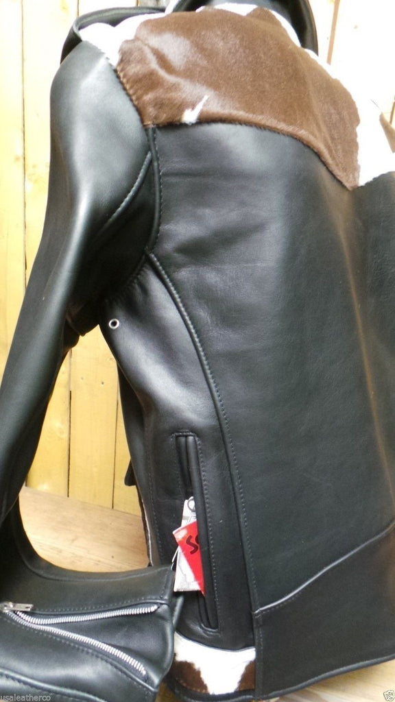 SCHOTT NYC 646 PONY  MOTORCYCLE LEATHER STEERHIDES JACKET D POCKETS -MADE IN USA