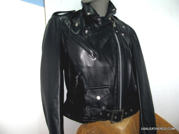 Schott NYC 218W Perfecto Lambskin Women Leather moto Jacket  Made in USA  NWT
