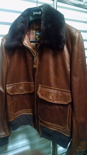 SCHOTT NYC FLT2  LEATHER JACKET SIZE XL FUR REMOVABLE COLLAR BARNEYS NY