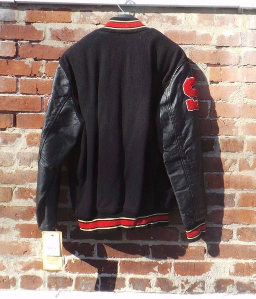 Schott NYC BLACK MOTO- Vintage Melton Wool &Leathers jacket  New w/tags RARE