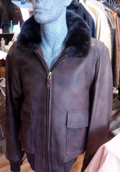 Schott NYC Rare Bison A-2 Leather Jacket Made in USA size Med USN-Brown vintage