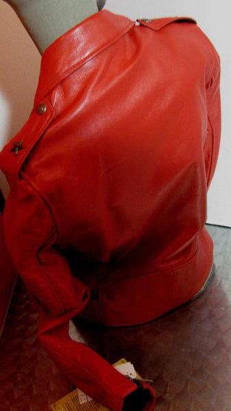 Schott NYC MADE IN USA Perfecto Lambskin Women Leather moto Jacket RED  sold out