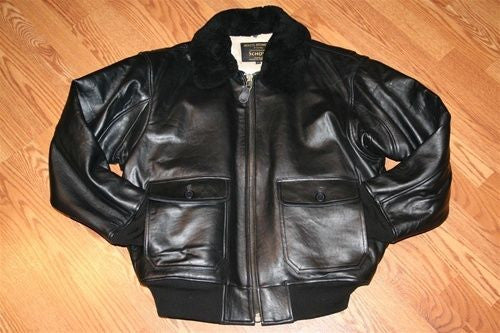 Schott NYC G1 - Lambskins Leather W/removablesheepskin collar Jacket BLACK- 3xl