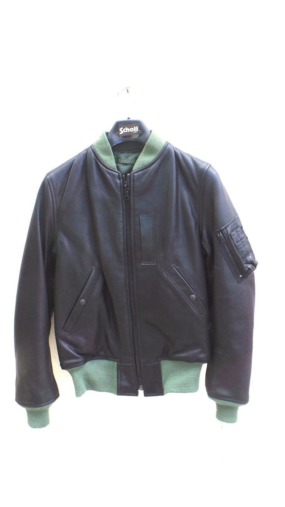Schott Nyc  Burnish Pebble Leather MA -1  MILITARY Black JACKET made in USA  SM
