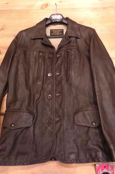 Schott NYC Men New Leather  goatskins Jacket Brown 208 Size M made in usa one only
