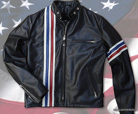 NEW Schott NYC Hard Rider Striped USA 671 USA MADE Leather Motorcycle   2 SIZES LEFT