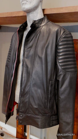 New Schott Nyc Racer BIKER LEATHER JACKET Large europeen style Lambskins NWT