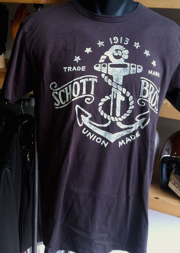 SCHOTT NYC NEW T- Shirt Made in USA  100% Cotton  S/S   NWT SOLD OUT