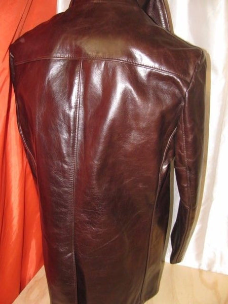 Schott NYC Leather Midweigh  STUNNING Pea coat Black cherry size large Nwt