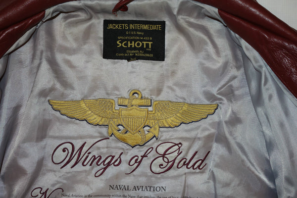 SCHOTT bros LAMBSKIN- WINGS OF GOLD LEATHER  BOMBER JACKET BURGUNDY NEW W/TAGS