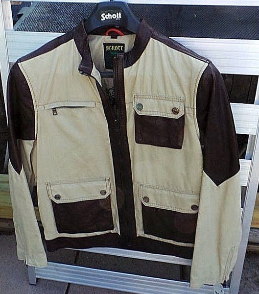 Schott Nyc VINTAGE Leather & Twill Jacket  Rare ITEM NEW/WTAGS