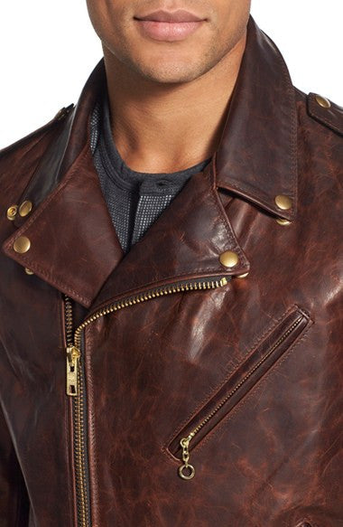 schott nyc Hand Oiled Lightweight Naked Perfecto Motorcycle Jacket  - Brown