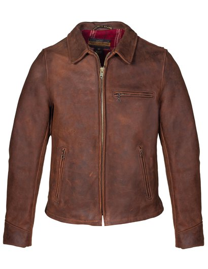 schott nyc Storm Heavyweight Oiled Nubuck Leather Biker Jacket made in usa