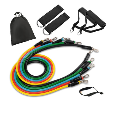 Resistance Band Fitness Set with Handles & Ankle Straps for Home Workout High Quality Tubes -11 Piece Set