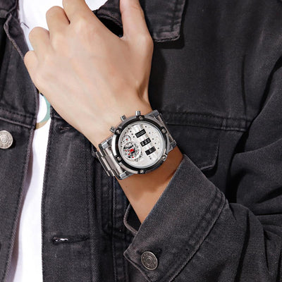 Drum Watch Retro Turning Cylinder Hybrid Analog Dual Timezone Stainless Steel Timepiece