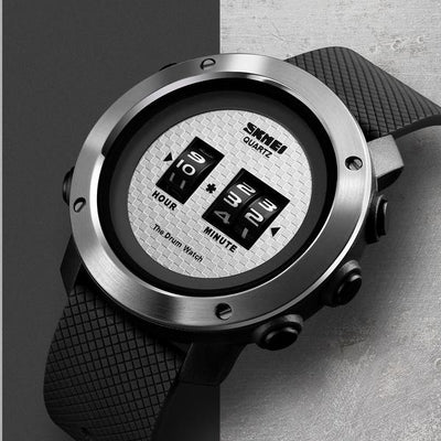Drum Watch Retro Turning Cylinder Fashion Timepiece - GadgetCart