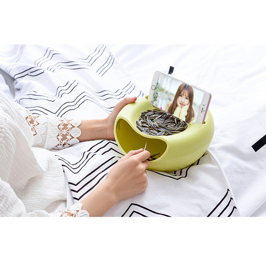 Double Layer Snack Bowl Perfect for Nuts, Seeds, Storage Entertainment Gadget - GadgetCart