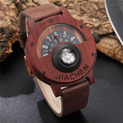 Unique Turntable Rotating Dial Wood Watch with Compass